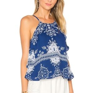 Lovers + Friends Tropics Top Blue Scarf